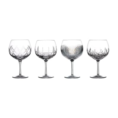 "Waterford Crystal ""Gin Journeys"" Set of Four Mixed Design Balloon Glasses"