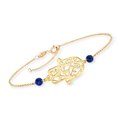 Italian Lapis Hamsa Bracelet in 14kt Yellow Gold