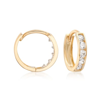 Child's .15 ct. t.w. CZ Hoop Earrings in 14kt Yellow Gold