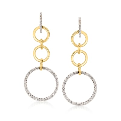 C. 1980 Vintage .75 ct. t.w. Diamond Open-Circle Drop Earrings in 14kt Two-Tone Gold