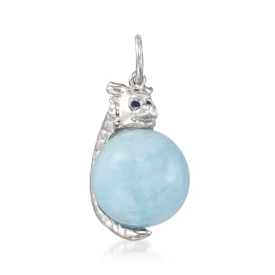 14.00 Carat Milky Aquamarine Dragon Pendant with Sapphire Accents in Sterling Silver