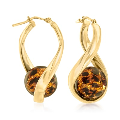 Italian Leopard-Print Murano Glass Bead Twisted Hoop Earrings in 18kt Gold Over Sterling