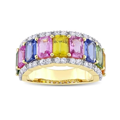 5.40 ct. t.w. Multicolored Sapphire Ring in 14kt Yellow Gold