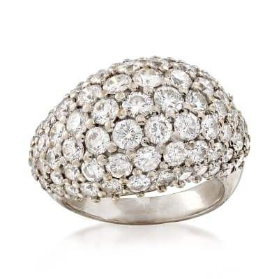 C.1970 Vintage 3.50 ct. t.w. Diamond Dome Ring in 18kt White Gold