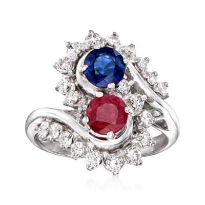 C. 1980 Vintage .79 Carat Sapphire, .68 Carat Ruby and .60 Carat Diamond Cocktail Ring in 18kt White Gold