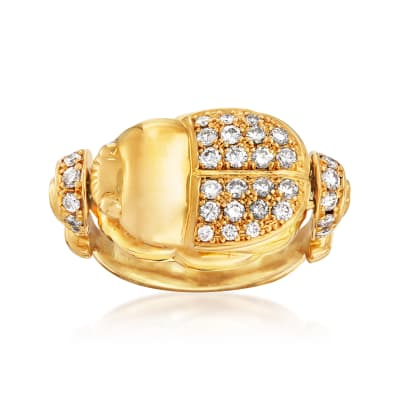 C. 1980 Vintage .66 ct. t.w. Diamond Beetle Ring in 18kt Yellow Gold