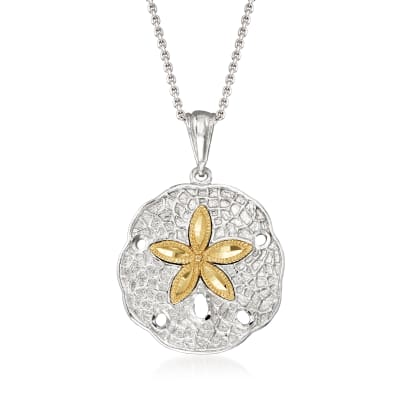 Sterling Silver and 14kt Yellow Gold Sand Dollar Pendant Necklace