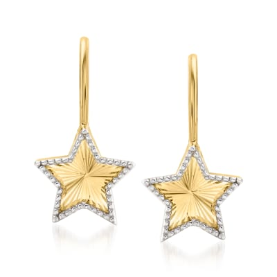 14kt Two-Tone Gold Star Drop Earrings