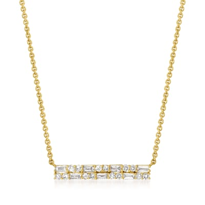 .30 ct. t.w. Diamond Bar Necklace in 14kt Yellow Gold