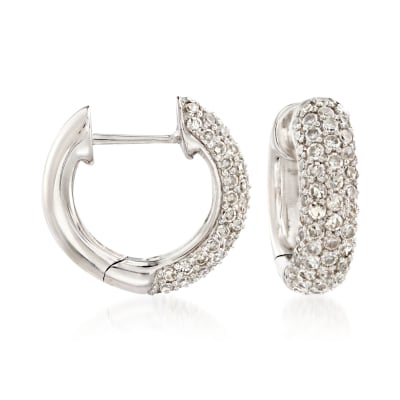 1.10 ct. t.w. Diamond Huggie Hoop Earrings in 14kt White Gold