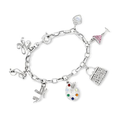 C. 1990 Vintage Mother-Of-Pearl, .90 ct. t.w. Multi-Gemstone and .35 ct. t.w. Diamond Charm Bracelet in 14kt White Gold