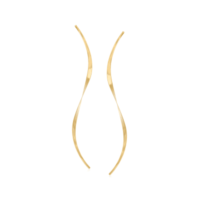 14kt Yellow Gold Elongated Curved Drop Earrings