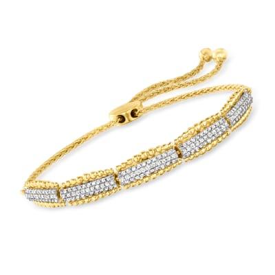.50 ct. t.w. Diamond Beaded-Edge Bolo Bracelet in 18kt Gold Over Sterling