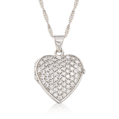 1.25 ct. t.w. CZ Heart Locket Necklace in Sterling Silver