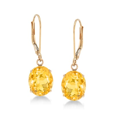 4.80 ct. t.w. Citrine Drop Earrings in 14kt Yellow Gold