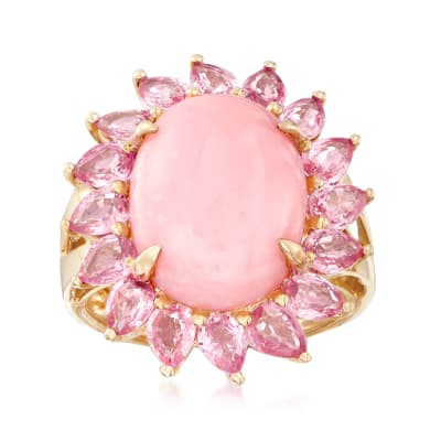 Pink Opal and 2.80 ct. t.w. Pink Sapphire Ring in 14kt Yellow Gold