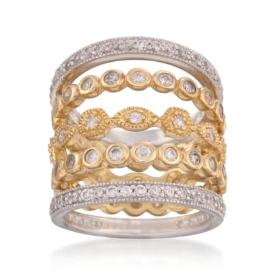 2.80 ct. t.w. CZ Jewelry Set: Five Eternity Rings in Two-Tone Sterling Silver