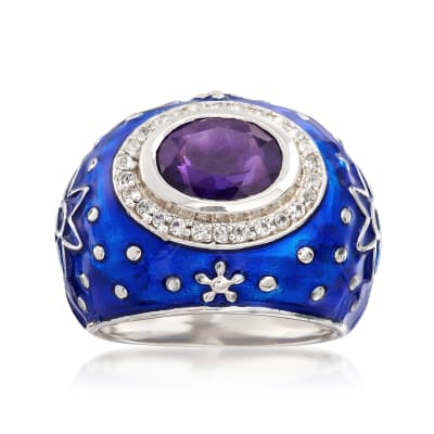 Blue Enamel Star Ring with 2.00 Carat Amethyst and .30 ct. t.w. White Topaz in Sterling Silver