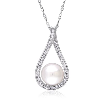 9-9.5mm Cultured Pearl and .18 ct. t.w. Diamond Teardrop Pendant Necklace in 14kt White Gold