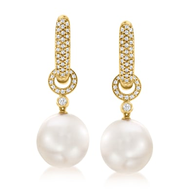 12-13mm Cultured South Sea Pearl and .49 ct. t.w. Diamond Hoop Drop Earrings in 18kt Yellow Gold