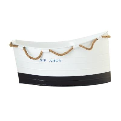 """Set of 2 """"Ship Ahoy!"""" White Boat Ice Buckets"""