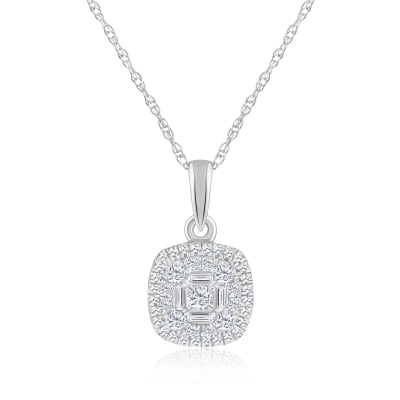 .25 ct. t.w. Baguette and Round Diamond Square Cluster Pendant Necklace in 14kt White Gold