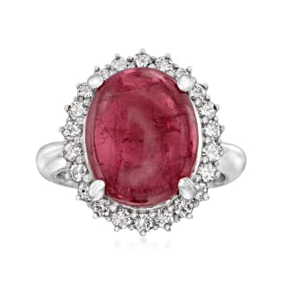 C. 1990 Vintage 10.84 Carat Pink Tourmaline and .68 ct. t.w. Diamond Ring in Platinum