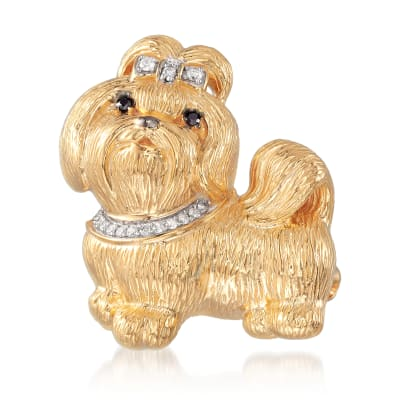 .10 ct. t.w. Diamond Shih Tzu Pin/Pendant in 18kt Gold Over Sterling