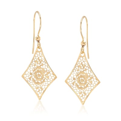 Italian 18kt Yellow Gold Floral Openwork Kite-Shaped Drop Earrings
