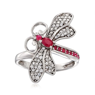 .35 ct. t.w. Ruby and .30 ct. t.w. White Topaz Dragonfly Ring in Sterling Silver