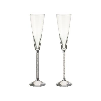 """""""Diamond"""" Set of 2 Toasting Flute Glasses"""