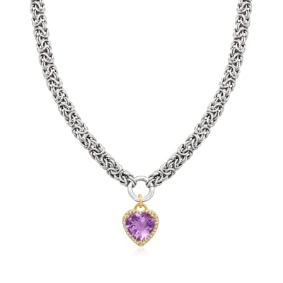 5.25 Carat Amethyst Heart Pendant Byzantine Necklace with .80 ct. t.w. White Topaz in Two-Tone Sterling Silver