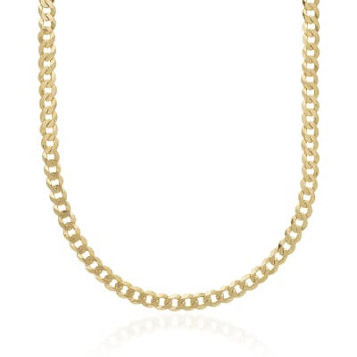 Men's 6.7mm 14kt Yellow Gold Curb Chain Necklace