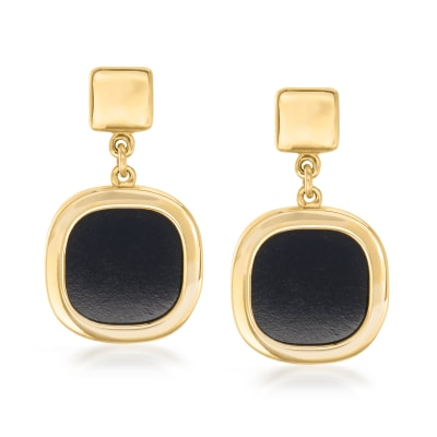 Italian Black Onyx Square Drop Earrings in 14kt Yellow Gold
