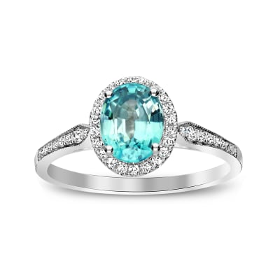 2.40 Carat Blue Zircon Ring in .29 ct. t.w. Diamonds in 14kt White Gold
