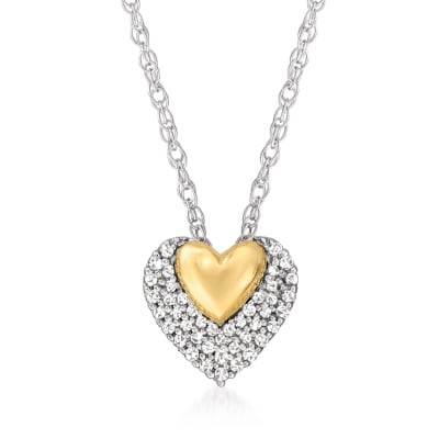 .15 ct. t.w. Diamond Double-Heart Pendant Necklace in Sterling Silver and 14kt Yellow Gold