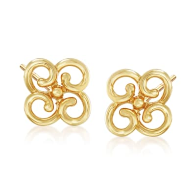14kt Yellow Gold Cut-Out Flower Stud Earrings