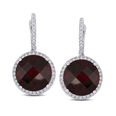 15.00 ct. t.w. Rhodolite Garnet and .49 ct. t.w. Diamond Drop Earrings in 14kt White Gold
