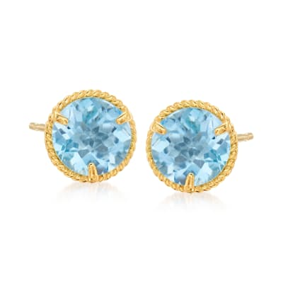 1.80 ct. t.w. Swiss Blue Topaz Roped Halo Stud Earrings in 14kt Yellow Gold