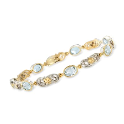 C. 1950 Vintage 6.30 ct. t.w. Aquamarine and .33 ct. t.w. Diamond Floral Link Bracelet in Sterling Silver and 14kt Yellow Gold