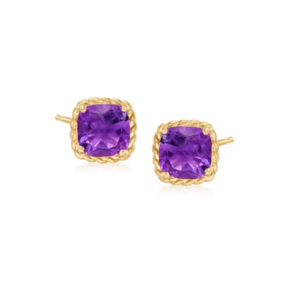 2.50 ct. t.w. Amethyst Stud Earrings in 14kt Yellow Gold