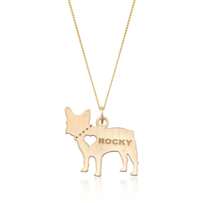 18kt Yellow Gold Over Sterling Silver French Bulldog Name Pendant Necklace