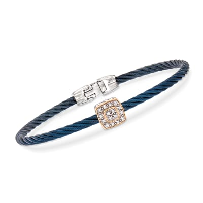 "ALOR ""Shades of Alor"" Blue Carnation Cable Station Bracelet with Diamond Accents in Stainless Steel and 18kt White and Rose Gold"