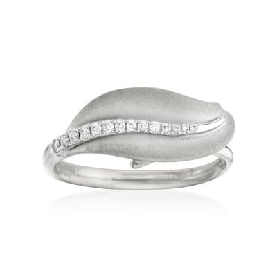 Simon G. 18kt White Gold Leaf Design Ring with Diamonds