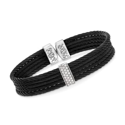 "ALOR ""Classique"" Black Stainless Steel Cable Cuff Bracelet with .19 ct. t.w. Diamonds and 18kt White Gold"