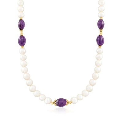 10mm Cultured Pearl and 70.00 ct. t.w. Amethyst Necklace with 18kt Gold Over Sterling