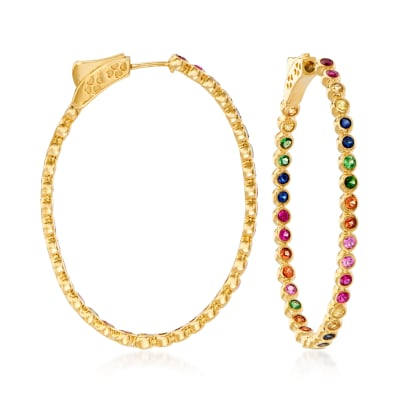 2.60 ct. t.w. Multicolored Sapphire and .70 ct. t.w. Ruby Inside-Outside Hoop Earrings in 14kt Yellow Gold