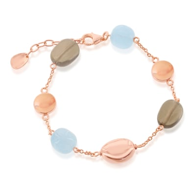 14.00 ct. t.w. Aquamarine and 14.00 ct. t.w. Smoky Quartz Bead Bracelet in 18kt Rose Gold Over Sterling