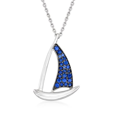 .22 ct. t.w. Sapphire Sailboat Pendant Necklace in Sterling Silver
