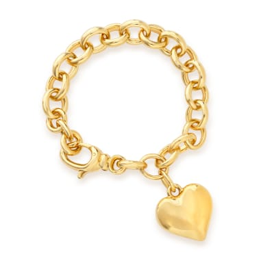 Italian Andiamo 14kt Yellow Gold Over Resin Heart Charm Bracelet